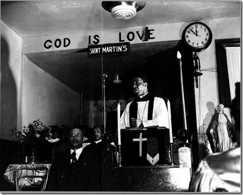 Gordon Parks - Ella Watson's pastor Rev Vondell Gassaway preaching Sunday sermon at Saint Martin's Spiritual Church 1942